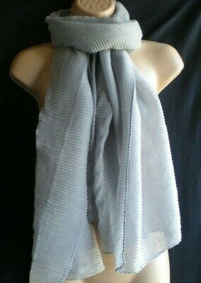 Silver / Grey Sparkly Ruched / Gathered / Puckered / Pleated XL Scarf / Sarong