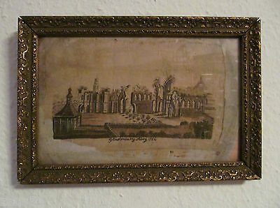 Glastonbury Abbey  1754 orig. Seide Bild gestickt Antikes Unikat England London