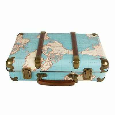 Vintage Suitcase Trunk Retro Luggage Antique World Map Decor Travel Storage Case