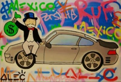 Alec Monopoly oil Painting on Canvas graffiti art wall decor Money Porche 28x36""