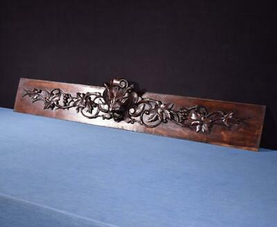 """*42"""" French Antique Hand Carved Architectural Panel Solid Oak Wood w/Lion Face"""
