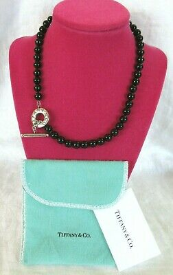 1fcca8ee2 TIFFANY & CO. Sterling BLACK ONYX BEAD NECKLACE - Toggle 17.5