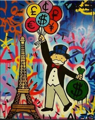 Alec Monopoly Oil Painting on Canvas Graffiti art Handcraft Eiffel Tower 28x36""