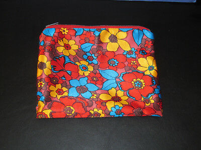 Vintage 1970s makeup/vanity bag/purse - colourful, bright, kitsch and retro!