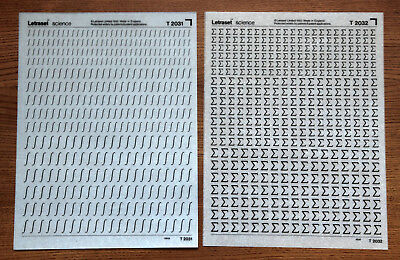 2 sheets of Letraset Science dry transfers, T2031 & T2032, both mint and unused