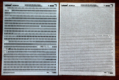 2 sheets of Letraset Science dry transfers, T2035 & T2039, both used