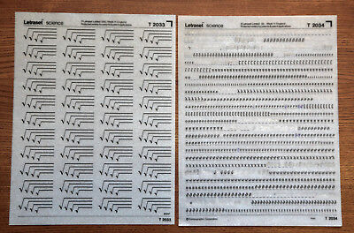 2 sheets of Letraset Science dry transfers, T2033 & T2034, one mint, one used