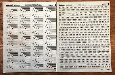 2 sheets of Letraset Science dry transfers, T2033 & T2035, one mint, one used