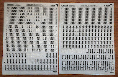 2 sheets of Letraset Science dry transfers, T2020 & T2021, both used