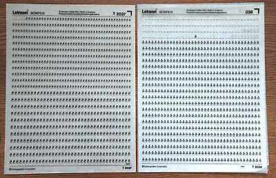 2 sheets of Letraset Science dry transfers, T2037 & T2038, both used