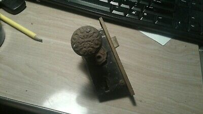 Antique Eastlake 1880's Gothic Victorian rimlock Door Knob Lockset Cast Iron