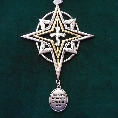 """NEW Cross Memorial Ornament """"Blessed to Have a Dad Like You"""" from Ganz"""