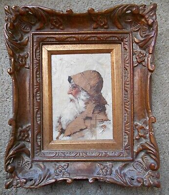 Framed OIL PAINTING of an Old Sea Captain with Long White Beard--Excellent