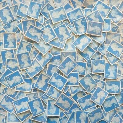 100 x 2nd second Class Unfranked Stamps No Gum Off Paper Stamp Collecting Art