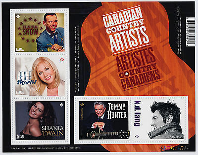 Canada 2765 MNH Country Music Artists, Shania Twain, Hank Snow, Tommy Hunter