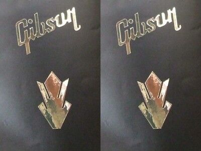2 BRIGHT GOLD CHROME vinyl gibson style words and crowns guitar head stock band
