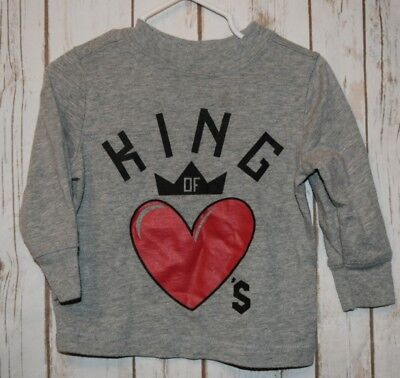 Toddler Boys Tee Shirt Sz 12-18 months Old Navy Gray Long Sleeve King Of Hearts