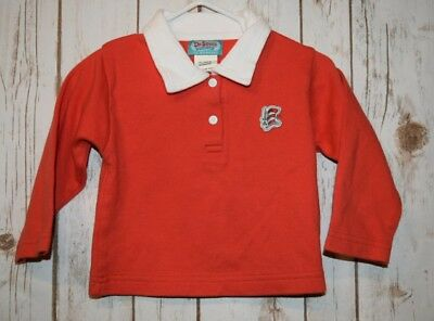 Dr.Seuss Nursery Long Sleeve Polo Tee Shirt Red Bay Toddler 12 Months Cat Hat