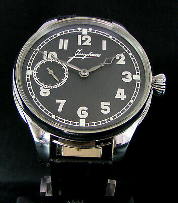JUNGHANS Vintage WWII Era Men's Large Wrist Watch Stainless Steel
