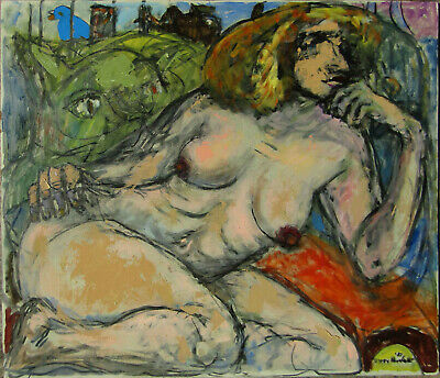 Byron Randall Pensive Expressionist Female Nude with Cat Oil Painting #1 NO RES.