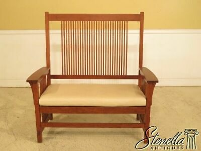 44101EC: STICKLEY Mission Oak Spindle Back Settee w. Leather Seat