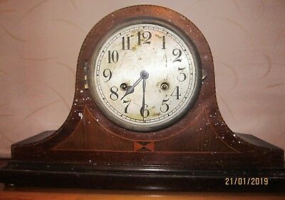 Antique Clock Nelson Hat Inlaid Wood FHT Chiming with key. For Repair 42x27x14cm