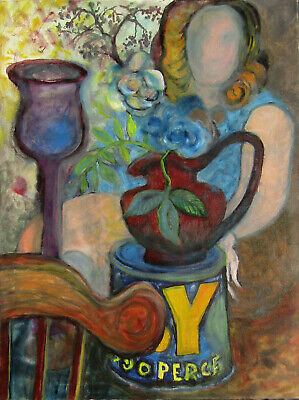 Byron Randall Dreamlike Woman & Flowers Large Expressionist Oil Painting #2 NR