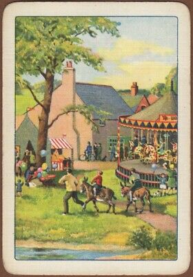 Playing Cards 1 Single Card Antique Wide ENGLISH COUNTRY FAYRE Carousel Children