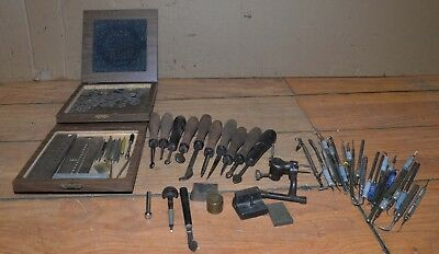 Jewelers tool lot gravers chisels diamond disc staking tool draw gauge vintage