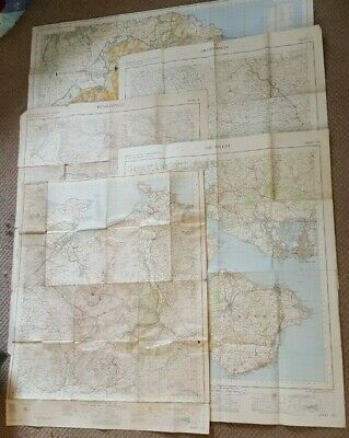 5x Vintage Ordnance Survey Maps One inch to one Statute Mile 1953 to 1966