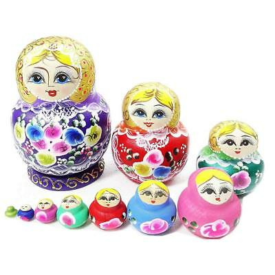 10pcs Handmade Colorful Wooden Stacking Russian Nesting Dolls Matryoshka