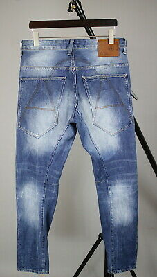 G-STAR A CROTCH TAPERED Men's W33/L34 Fade Effect Button Fly Jeans JS13034
