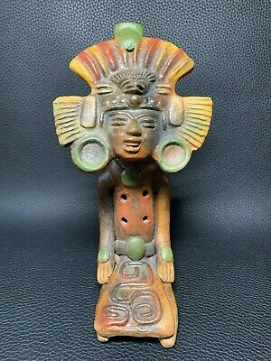 """Vintage Aztec Mayan Tribal Art Clay Flute Pottery Whistle South America 8"""""""