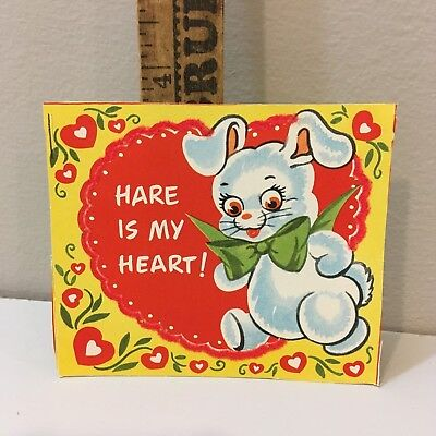 "Vtg Valentine Card   Big Eyed Bunny Rabbit Green Bowtie ""Hare Is Heart""   Unused"