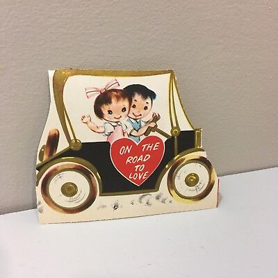 Vtg Valentine Card 40s pretty Little Girl Boy Antique Car On Road to Love Unused