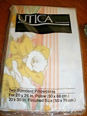 NEW Vtg J.P. Stevens Utica No Iron Percale set of 2 Pillowcases Floral