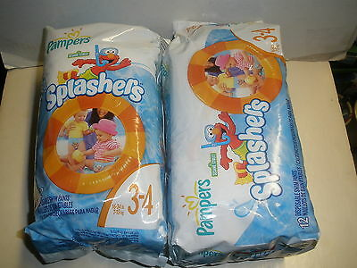 Lot 2 Packs Swim Diapers Sz 3-4 12 Count Pampers Splashers Elmo Unisex