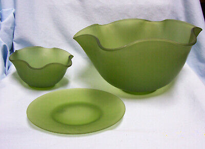 BOWLS (3) pc Vintage Frosted Green Glass Dip/Salad Bowls & Plate Ruffled Edges