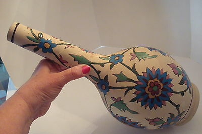 Antique Persian Qajar Polychrome glazed Flower Ceramic Vase