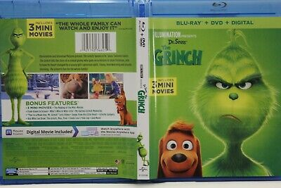 Dr. Seuss' The Grinch (Blu-Ray/DVD) FREE Ship (3 Mini movies) No Digital