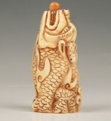 Precious Chinese Cattle Bone Snuff Bottle Statue Kirin Hand Carved Mascot Gift