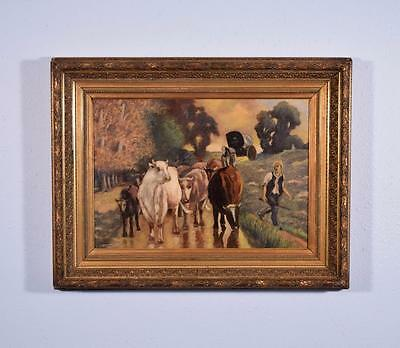 Antique Oil on Board Landscape Painting of a Man with Cows in Gilt Frame
