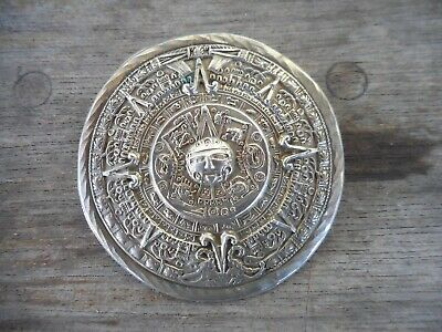 Mexican Sterling Silver Mayan Calendar Brooch Pin Pendant for Necklace