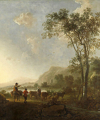 Oil painting Aelbert Cuyp beautiful landscape with cows in dusk Hand painted