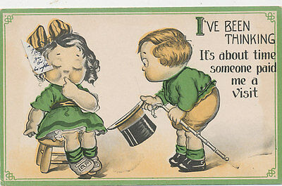 C5979 1910 Postcard Comic Humour Love Romance Children