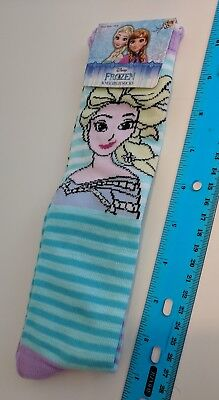 Disney Frozen Elsa Striped Knee High Girls Socks Shoe Size 10-4 - 1 Pair NEW