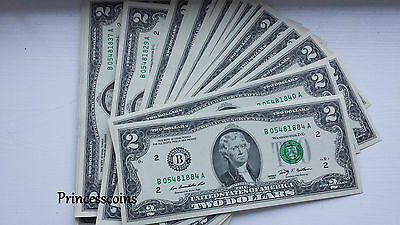 Uncirculated Us Dollar*Series Of $2 Two Dollar Bill Unc Banknotes