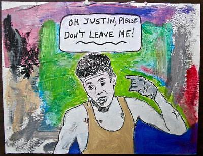 """justin Bieber"" Chuck Greatrex 6"" X 7"" Original Painting Outsider Nice!"