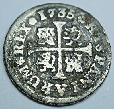 1735 Spanish Silver 1/2 Reales Piece of 8 Real Colonial Era Pirate Treasure Coin