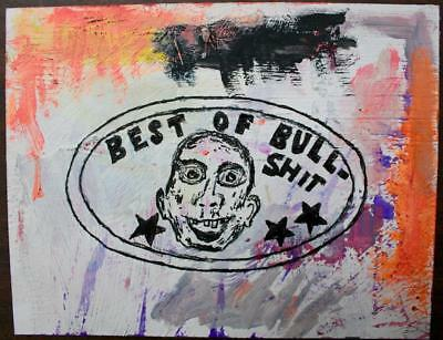 """best Of Bull"" Chuck Greatrex 5 1/2"" X 7"" Original Painting Outsider Nice!"